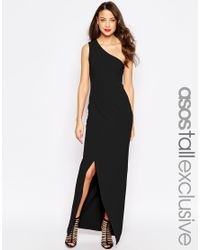 ASOS | Black Tall Red Carpet One Shoulder Maxi Dress | Lyst