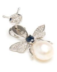 Yvonne Léon | White Pearl And Diamond Bee Lobe Earring | Lyst
