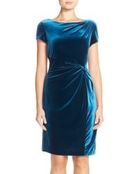 Ellen Tracy | Blue Pleat Velvet Sheath Dress | Lyst