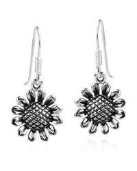 Aeravida - Metallic Charming Sunflower Sterling Silver Dangle Earrings - Lyst