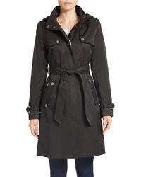 DKNY | Black Belted Trench Coat | Lyst