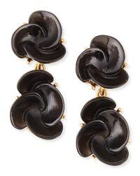 Oscar de la Renta - Black Resin Flower Clip-on Earrings - Lyst