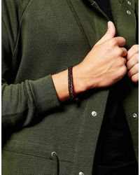ASOS - Black Bracelet With Hook Fastening In Brown Leather for Men - Lyst