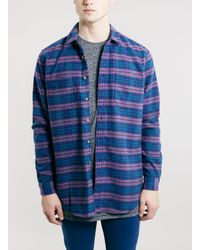 TOPMAN | Pink Check Long Sleeve Shirt for Men | Lyst