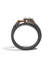 John Hardy - Black Legends Naga Double Wrap Bronze Ring Bracelet for Men - Lyst