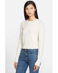 Helmut Lang | White Cashmere & Wool Crop Sweater | Lyst