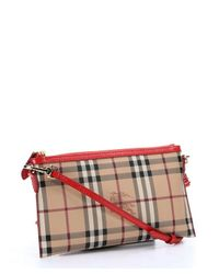 Burberry - Red Haymarket Check Coated Canvas 'Peyton' Crossbody Bag - Lyst