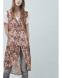 Mango - Pink Floral-print Flowy Dress - Lyst