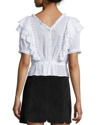Étoile Isabel Marant - White Nathan Pintucked Ruffle Blouse - Lyst