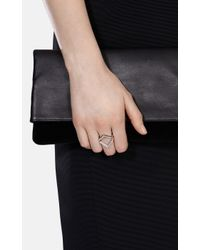 Karen Millen | Metallic The Angle Crystal Ring | Lyst