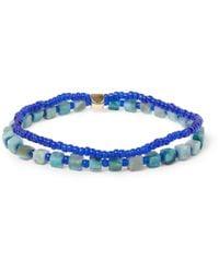 Luis Morais - Blue Gold, Turquoise And Glass Bead Bracelet for Men - Lyst