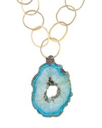 Amanda Wakeley - Metallic Malawi Blue Agate Necklace - Lyst