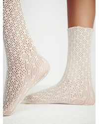 Free People - Natural Legale Womens Netted Ankle Sock - Lyst