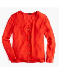 J.Crew | Red Collection Silk Cardigan Top | Lyst