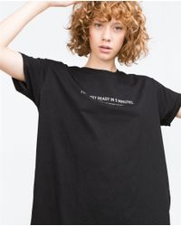 Zara | Black Asymmetric Printed T-shirt | Lyst