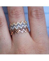 Anne Sisteron - 14kt Yellow Gold Diamond Zig Zag Stacking Ring - Lyst