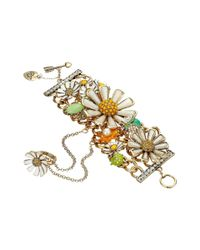 Betsey Johnson - Multicolor Flower Child Daisy Bracelet/ring Harness - Lyst
