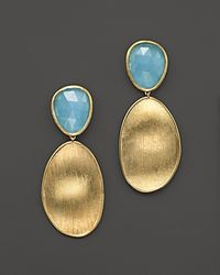 Marco Bicego | Metallic 18k Yellow Gold Lunaria Two Drop Aquamarine Earrings | Lyst