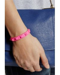 Valentino - Pink Rockstud Small Neon Leather Bracelet - Lyst