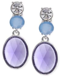 Jones New York | Metallic Silver-tone Blue Stone And Crystal Clip-on Drop Earrings | Lyst