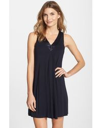 Midnight By Carole Hochman - Blue Charmeuse Trim Jersey Chemise - Lyst
