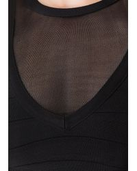 Bebe | Black Mesh Yoke Bandage Crop Top | Lyst
