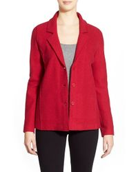Eileen Fisher | Red Notched-Collar Merino-Wool Jacket | Lyst