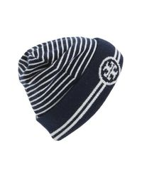 Tory Burch - Blue Reversible Knit Beanie - Lyst