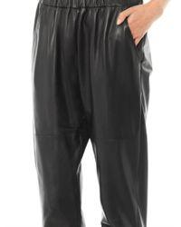 DROMe - Black Nappa Leather Joggers - Lyst