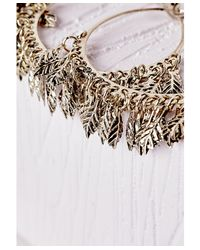 Missguided - Metallic Large Leaf Detail Hoop Earrings Gold - Lyst