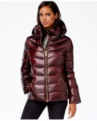 Calvin Klein | Purple Hooded Puffer Coat | Lyst