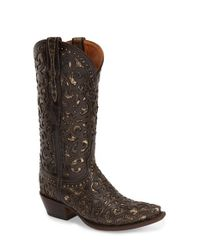 Lucchese | Brown Ornate-Stitched Western Boots | Lyst
