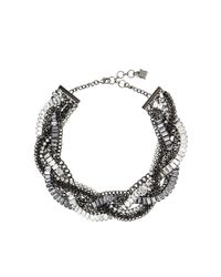 BCBGMAXAZRIA | Multicolor Braided Stone Detail Necklace | Lyst