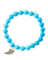 Sydney Evan - Blue 8Mm Turquoise Beaded Bracelet With 14K Gold/Diamond Medium Horn Charm (Made To Order) - Lyst