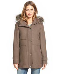 Kenneth Cole Brown Faux Fur Trim Wool Blend Duffle Coat