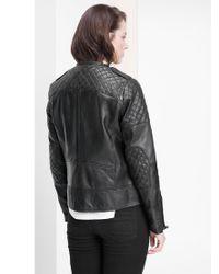 Violeta by Mango - Black Zip Leather Jacket - Lyst