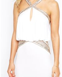 Forever Unique - White Maxi Dress With Embellished Necklace And Waist - Lyst