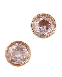 Michael Kors - Pink Rose Gold Plated Crystal Stud Earrings - Lyst