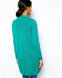 Love Moschino - Green Longline Sheer Cardigan with Signature Bow - Lyst
