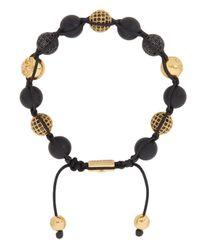 Nialaya   Black Crystal-embellished Beaded Bracelet for Men   Lyst