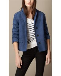 Burberry | Blue Single-Breasted Nubuck Jacket | Lyst
