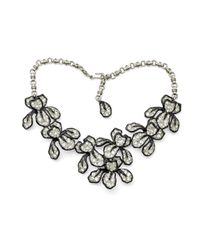 Kenneth Jay Lane | Metallic Crystal Flower Necklace | Lyst