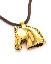 Hermès - Brown HermãˆS Horse Head Pendant Necklace - Lyst