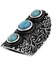 Steve Madden - Metallic Silver-Tone Turquoise Bead Etched Long Ring - Lyst