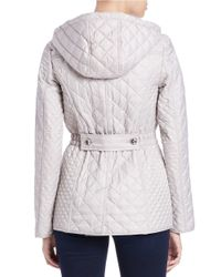 Laundry by Shelli Segal | Gray Quilted Zip-front Jacket | Lyst