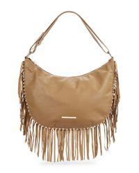Kensie | Brown Fringed Faux Leather Hobo Bag | Lyst