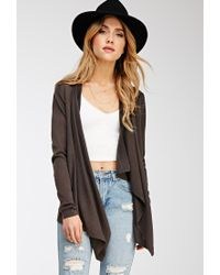 Forever 21 - Gray Draped Open-front Cardigan - Lyst