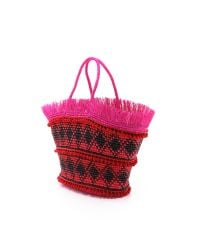 Sensi Studio - Red Maxi Fringed Woven Toquilla Straw Tote - Lyst