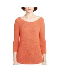 Ralph Lauren - Orange Knit Crop-sleeved Sweater - Lyst