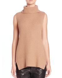 VINCE | Brown Directional Ribbed Turtleneck Sweater | Lyst